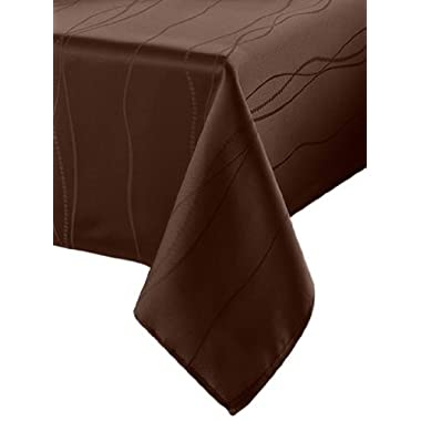 Benson Mills Gourmet Spillproof Fabric Tablecloth, Chocolate, 60-inch by 120-inch