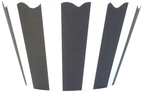 Bella Cupcake Couture 50-Pack Striped Cupcake Wrappers, Black/White