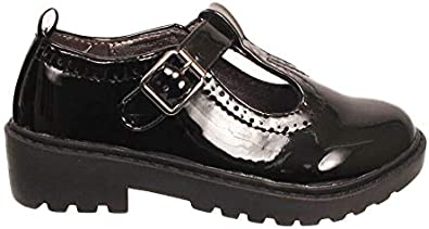 Boys Black Leather School Shoes Twin Bar Touch Fastening Buckle My Shoe