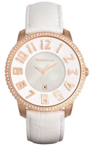 Tendence Slim Classic Watch MOP Dial Crystal Bezel Rose Gold Date TG132004