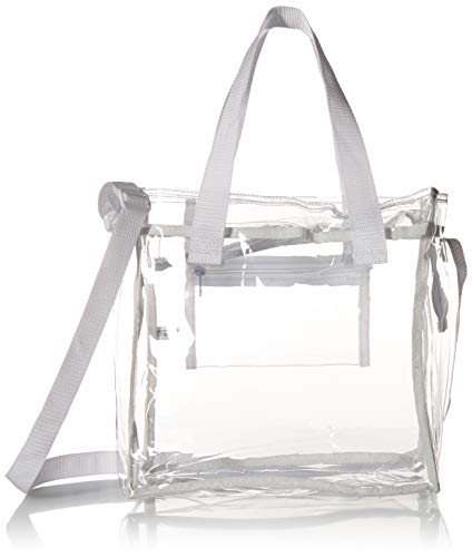 Nova Sport Wear Bag with Handles / Adjustable Strap Transparent Gameday Tote, 12 x 12 x 6 Inch - White ()