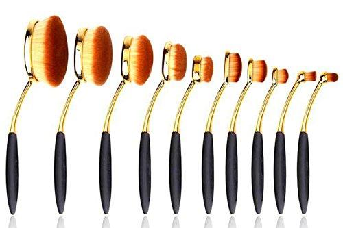 ZXLIFE@10 piezas de cepillo de dientes en forma de herramientas de pinceles de maquillaje de maquillaje de fibra artificial...