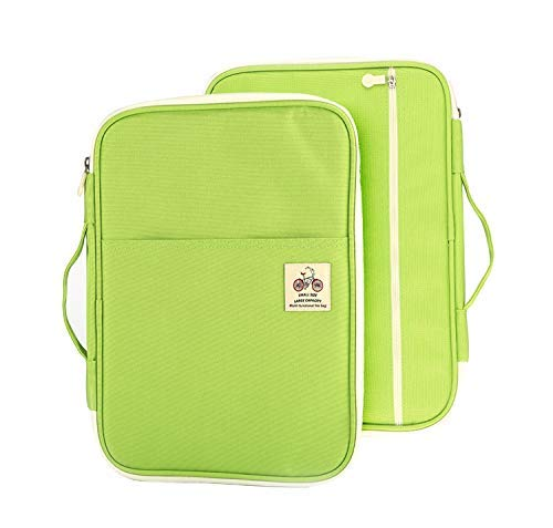 Lazyaunti Document Portfolio Padfolio Folders Organizer Binder Multi Function Water Repellent Travel Pouch Zipper Case for Laptop, Ipad, Kindle, Notebook, Pen (Light Green) …