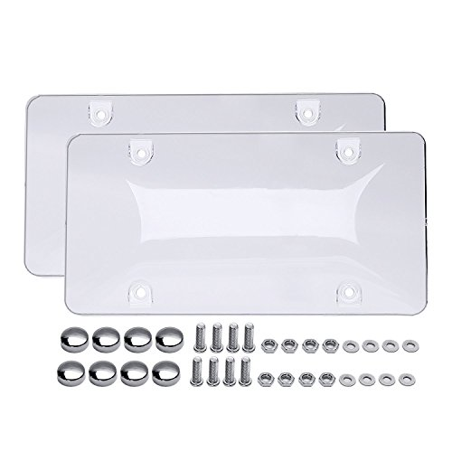 Ohuhu 2 Clear Bubble License Plate Shiled Covers 92615 Custom Car Licenses Frames With Screws Caps (License Plate Clear)
