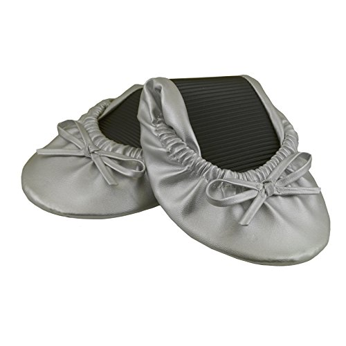 Solemates Purse Pal Foldable Bowed Ballet Flats w/ Expandable Tote Bag for Carrying Heels (Medium (7 - 8.5), Silver)