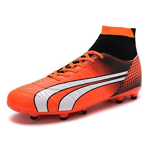 DREAM PAIRS Men's 160862-M Orange Black White Cleats Football Soccer Shoes - 10 M US
