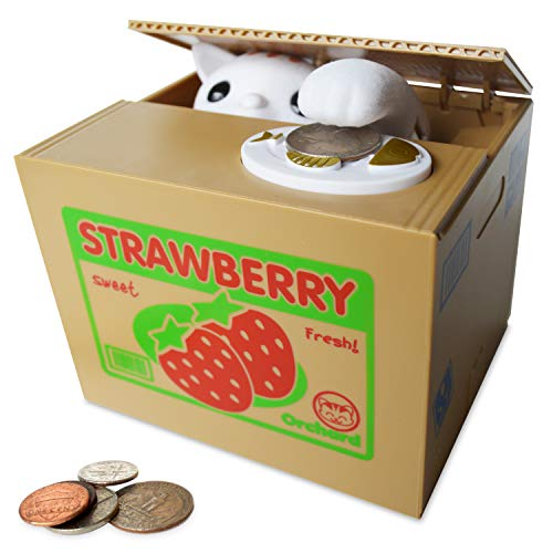 - Stealing Coin Bank Kitty Cat by Spark Toys & Games - Cute Kitten Steals Coin Like Magic - Fun & Cute Piggy Bank for Kids