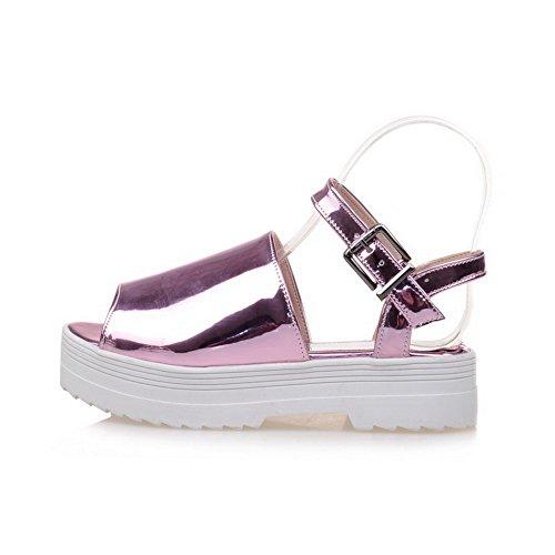 AmoonyFashion Womens Pu Solid Buckle Open Toe Kitten Heels Sandals Purple 4PrPumQfpK