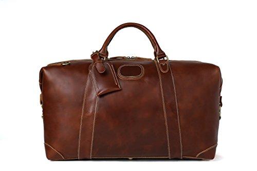 ROCKCOW Reddish Brown Top Grain Leather Travel Duffle Bag Men Shoulder Bag Holdall Bag by ROCKCOW (Image #1)