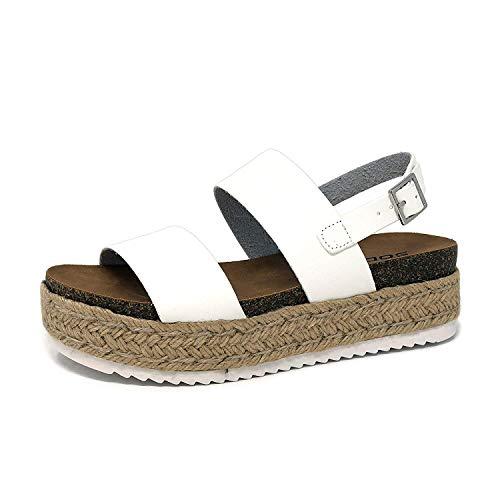 (SODA Women's Open Toe Ankle Strap Espadrille Sandal (10, Kazoo White))