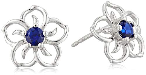 Sterling Silver Created Blue Sapphire Flower Stud Earrings