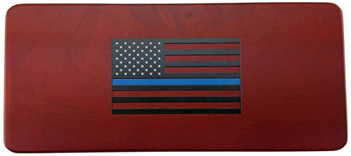 Gunmetal Rifle Bullet Pen with THIN BLUE LINE FLAG Rosewood Gift Box