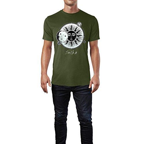 SINUS ART ® Vintage Zeichnung einer Sonnenfinsternis Herren T-Shirts in Armee Grün Fun Shirt mit tollen Aufdruck