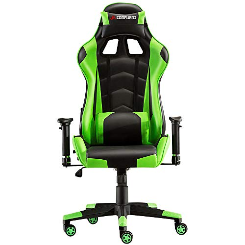 - JL Comfurni Gaming Chair Racing Style Ergonomic Swivel Computer Office Desk Chairs Adjustable Height Reclining High-Back with Lumbar Cushion Headrest Executive Leather Chair (S03 - Green)