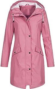 Women's Solid Rain Jacket Outdoor Hoodie Waterproof Long Coat Overcoat Windproof Large Size Long Windproof