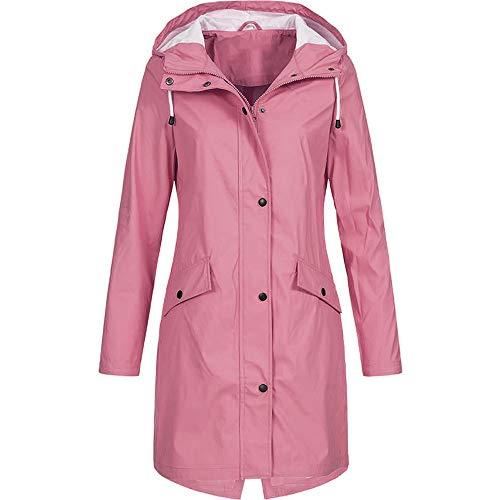 Women's Solid Rain Jacket Outdoor Hoodie Waterproof Long Coat Overcoat Windproof -