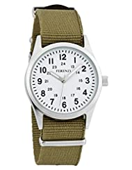 Ferenzi Unisex | Classic Vintage Army Style Watch with White 24h Face and Army Green Canvas Band | FZ15201