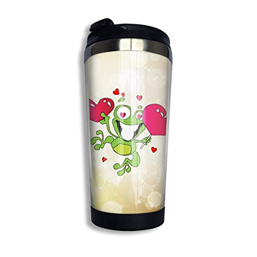 Arsmt Happy Frog Holding Love Lollipop 13.5 Oz Stainless Steel Coffee Mugs Insulated Sport Bottle