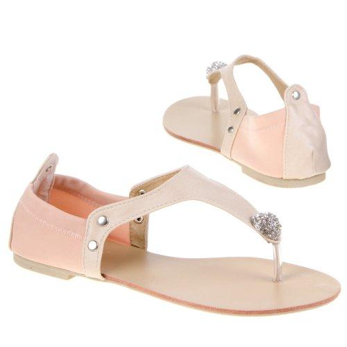 Damen Schuhe, SANDALEN, STRSASS STEIN DEKO STRETCH PUMPS, 1288-PL, Synthetik in hochwertiger Leder Optik und Textil, Creme, Gr 37