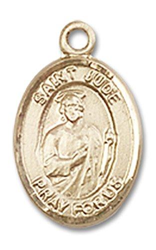 14 Karat Gold Saint Jude Thaddeus Medal Petite Charm Pendant, 1/2 Inch ()