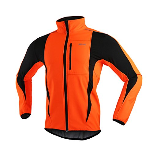 ARSUXEO Winter Warm UP Thermal Softshell Cycling Jacket Windproof Waterproof Bicycle MTB Mountain Bike Clothes 15-K Orange Size ()