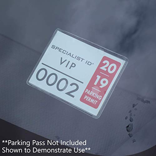 10 Pack - Parking Permit Holder for Car Windshield - Clear Adhesive Parking Tag Pouch - Vinyl Plastic Document Protector Holds Large Parking Placard, Pass, Decal or Sticker (4 x 3) by Specialist ID