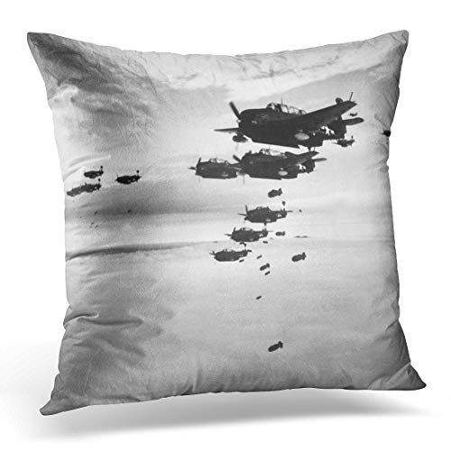 Emvency Throw Pillow Cover Planes from The USS Essex Aircraft Carrier Dropping Bombs Decorative Pillow Case Home Decor Square 18