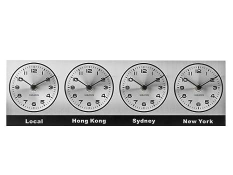Present Time Karlsson reloj de pared zona horaria 4 negro: Amazon.es: Hogar