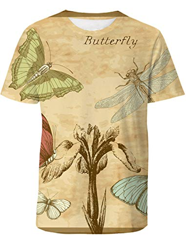 Casual 3D Printed T-Shirt Butterfly Dragonfly Postcard Pamphlet Polyester Short Sleeve Tops for Men ()