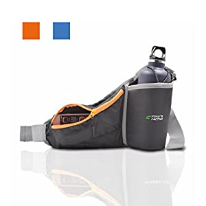 Fitter's Niche MultiFunction Hydration Waist Pack Shoulder Belt, Water Resistant with Inner Key Bag, Reflective Belt Loops, Exercise Outdoor Workout, Rich Orange