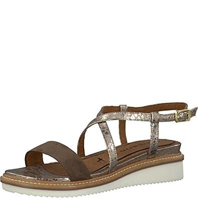 Kaltur Plateausandalette Damen Schwarz Schuhe Sandalen