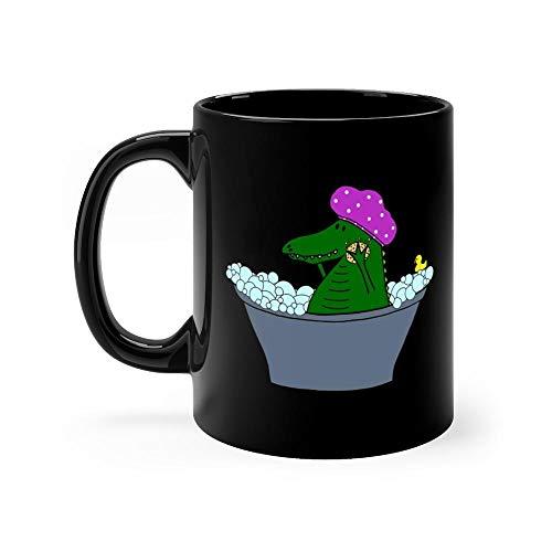 Scrubba Dub Dub - An Alligator in the Tub - Alligator Mug 11oz Black Ceramic Funny Unique Coffee Tea Mug Novelty Gift For Men - Ducky Dub
