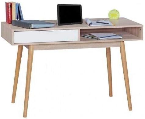 WOHNLING Schreibtisch Design Computertisch Schublade Sonoma/Weiß ...