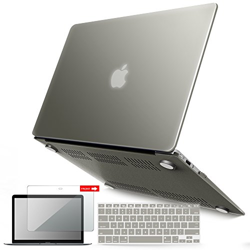 iBenzer Basic Soft-Touch Series Plastic Hard Case, Keyboard Cover, Screen Protector for Apple Macbook Air 13-inch 13 A1369/1466, Gray