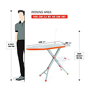 Bathla X-Pres Ace – Large Foldable Ironing Board with Aluminised Ironing Surface (Silver)