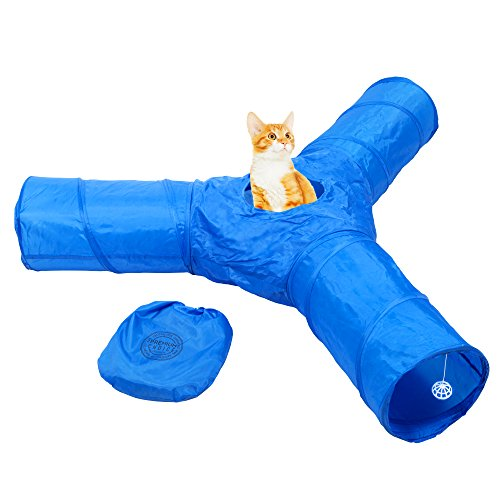 Cat Tunnel Toy - Collapsible 3 Way Tube for Kitty Exercise, Entertainment and Run. Like Christmas and Catnip for Kittens. Best Play House to Help Stop Meowing and Scratching