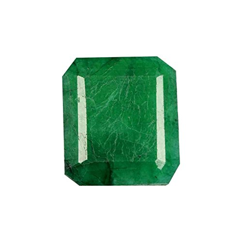 gemhub 14 x 13 mm 11.10 Ct. Brilliant Emerald Cut Certified Natural Green Emerald Loose Gemstone for Ring
