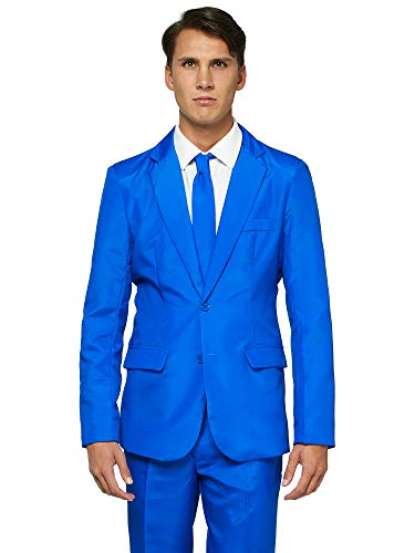 OFFSTREAM Plain Colored Suits for Men – Costumes Include Jacket Pants and Tie, Plain Blue, Small ()