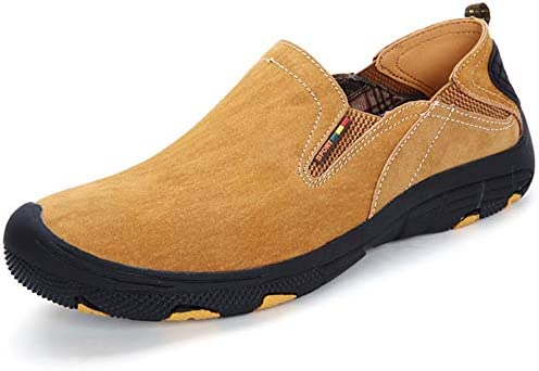 (ハンフウ) HUMGFENG アウトドアシューズ メンズ カジュアル トレッキングシューズ アウトドア 本革 メンズ靴 男性 軽量 かかと踏み 手作り 室外 24.0cm~28.0cm