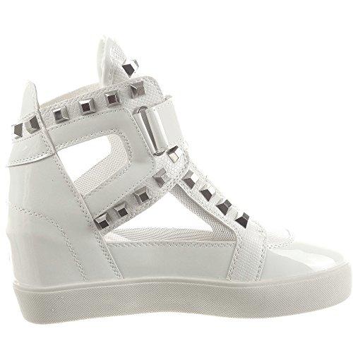 Sopily - Scarpe da Moda Sneaker Zeppa donna lucide borchiati Tacco zeppa 6.5 CM - Bianco