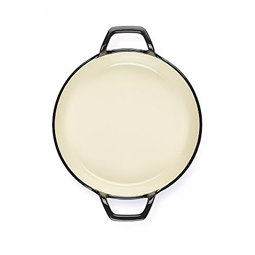 """Essenso Grenoble 3 Layer Enameled Cast Iron Egg and Omelet Pan with Ceramic Coating, 6.3"""", Cherry/Cream"""