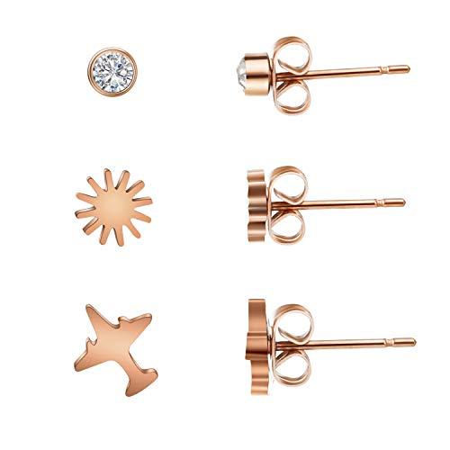 abc jewelry Round Diamond Stainless Steel, Airplane and Snowflake Shape Ear Stud Piercing Studs Earrings for Women/Men Ear Studs Cubic Zirconia (Abc Jewelry)