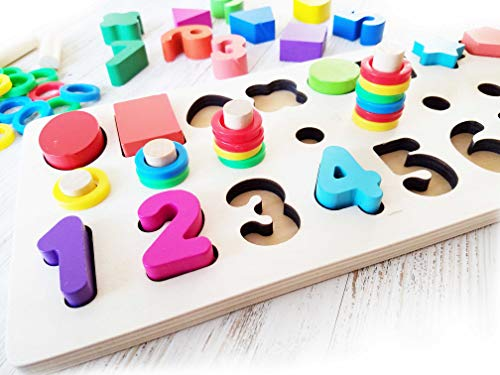 (Shape and Color Sorter Puzzle Stacker Wooden Toy 3 on 1 board with Numbers Shapes Colors and Counting)