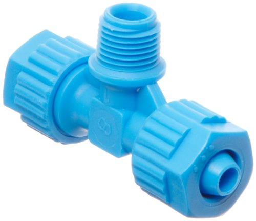 Tefen Fiberglass Polypropylene Compression Tube Fitting, Tee Adapter, Blue, 8 mm Tube OD x 1/8