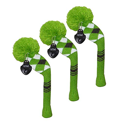 Scott Edward Green Argyles Style Grey Stripes Golf Hybrid/Utilities Head Cover, 3 pcs Packed, Rotatable Number Tags,