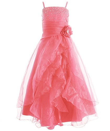 FAIRY COUPLE Girl's Cascading Crystal Organza Rhinestone Party Pageant Dress K0136 14 Coral by FAIRY COUPLE