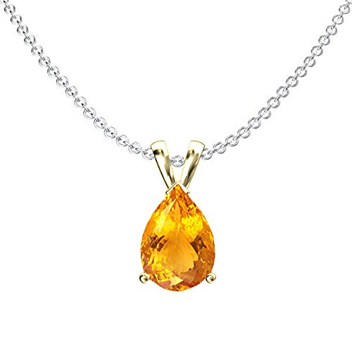 Dazzlingrock Collection 14K 8x6 mm Pear Cut Citrine Ladies Solitaire Pendant (Silver Chain Included), Yellow Gold
