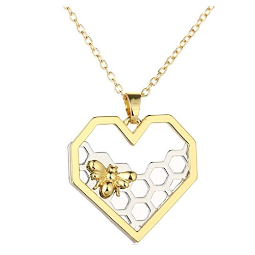 Napoo-Unisex Jewelry New Heart-shaped Small Honeycomb Pendant Small Bee Necklace ()
