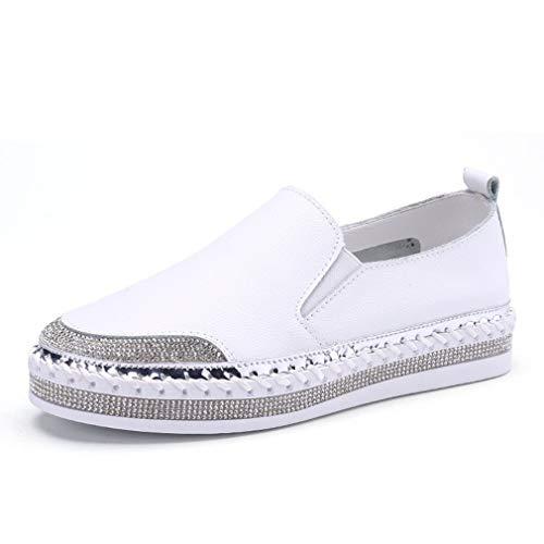 YAN Damenschuhe Deck-Schuhe Leder Loafers & Slip-Ons Low-Top Casual schuhe Outdoor Walking schuhe Driving schuhe Weiß schwarz,Weiß,35
