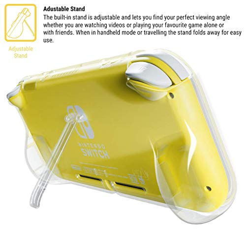 Orzly Grip Case for Nintendo Switch Lite – Case with Comfort Padded Hand Grips, Kickstand, Pack of Thumb Grips - Transparent/Clear